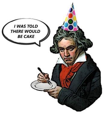 HAPPY 243RD BIRTHDAY LUDWIG VAN BEETHOVEN!   Beethoven with Cake