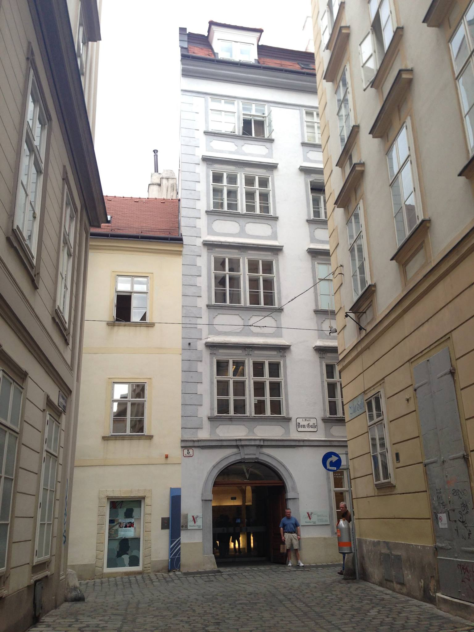 Mozart's flat at Domgasse 5 with your truly to the right