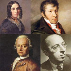Leopold Mozart, Johann Nepomuk Hummel, Fanny Mendelssohn-Hensel, and Aaron Copland