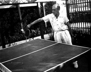 Arnold Schoenberg playing a mean game of Ping-Pong