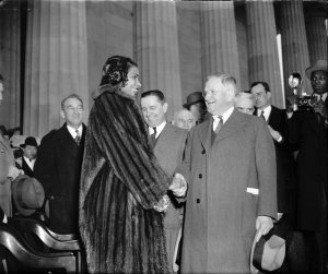 Marion Anderson with Harold Ickes, Lincoln Memorial, April 9, 1939
