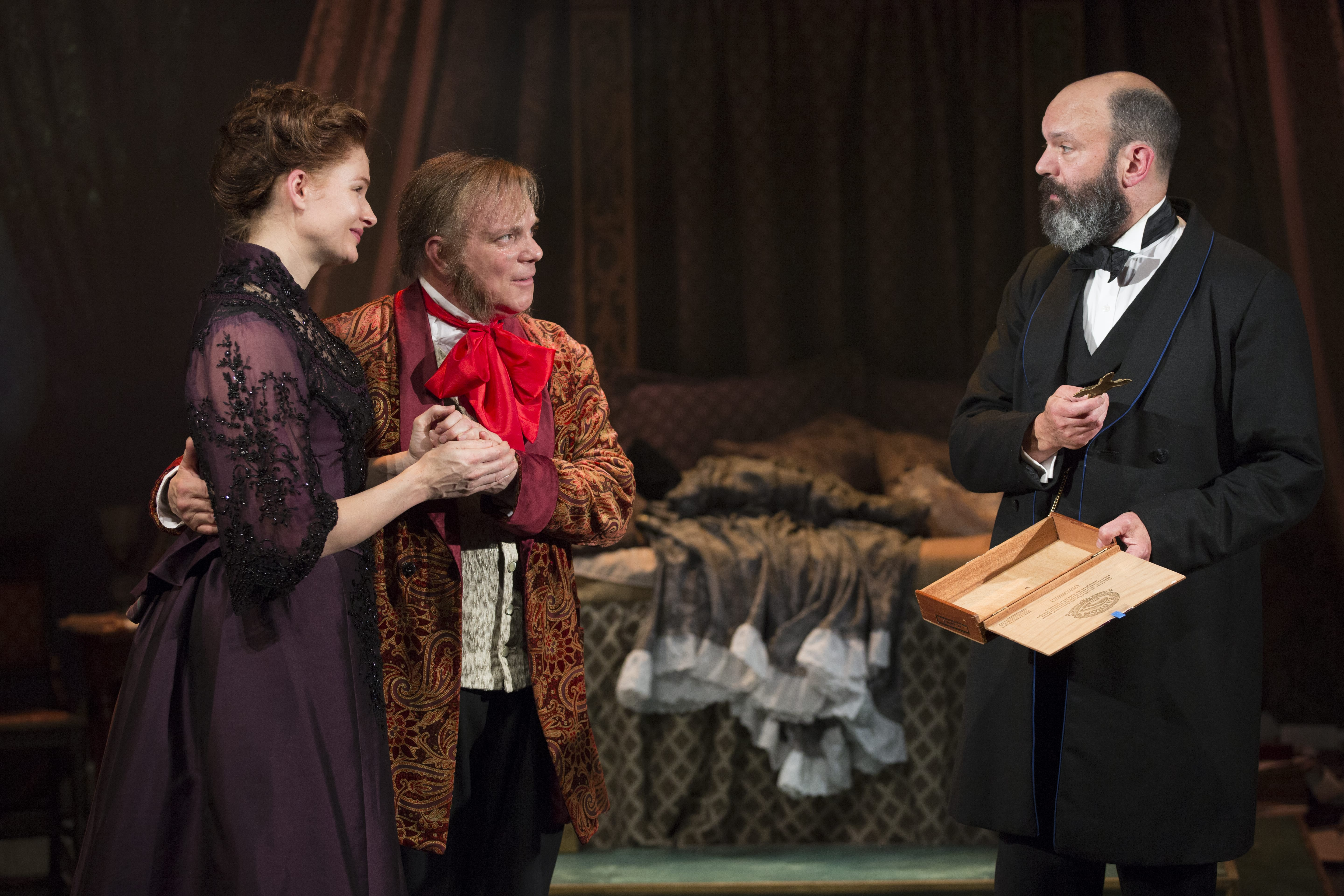 Claire Brownell as Cosima; Eddie Korbich as Wagner; Geoffrey Cantor as Hermann Levi © Carol Rosegg