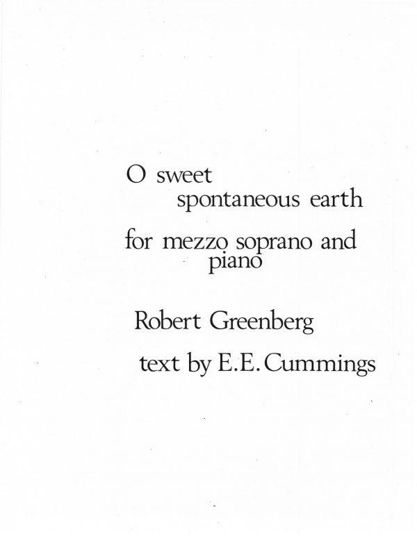 O Sweet Spontaneous Earth for Mezzo-Soprano and Piano