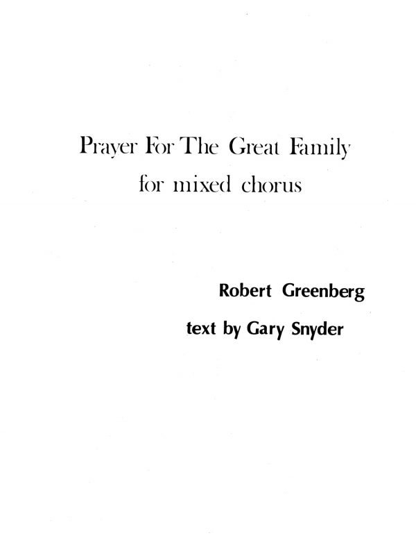 Prayer for the Great Family