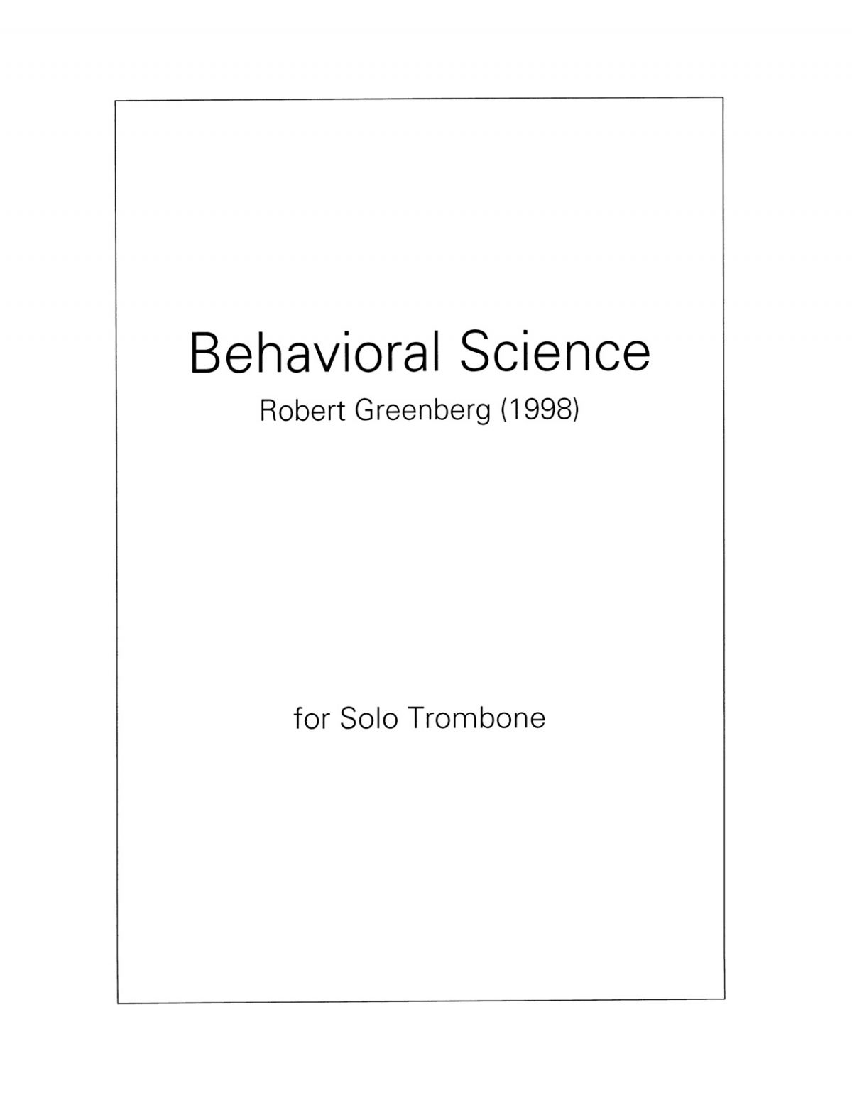 Behavioral Science for Trombone Solo