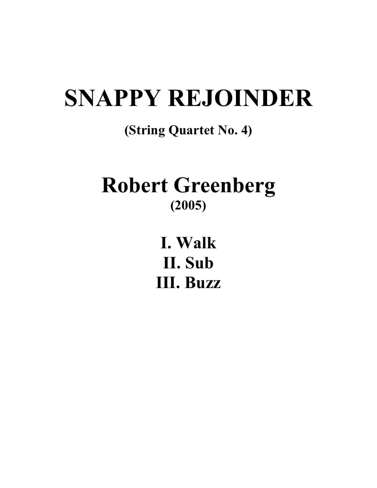 Snappy Rejoinder - String Quartet No. 4 Score Cover