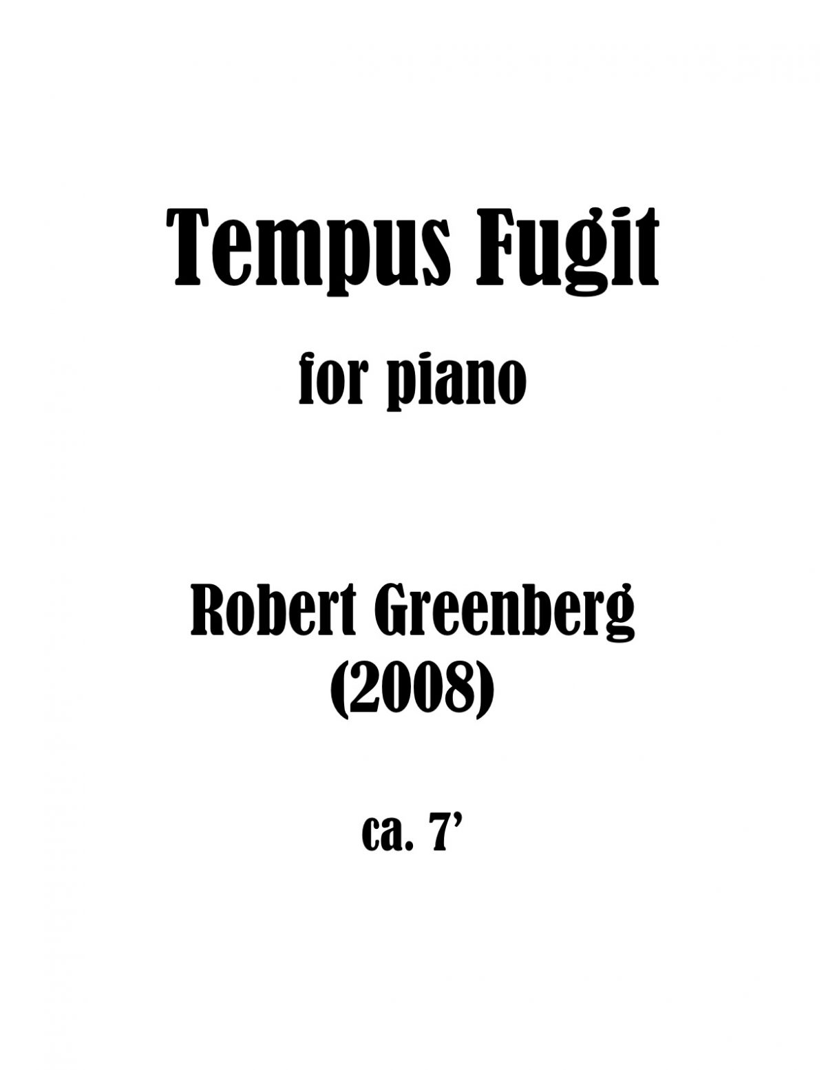 Tempus Fugit for Piano Score Cover