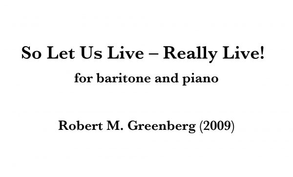 So Let Us Live — Really Live! for baritone and piano score image
