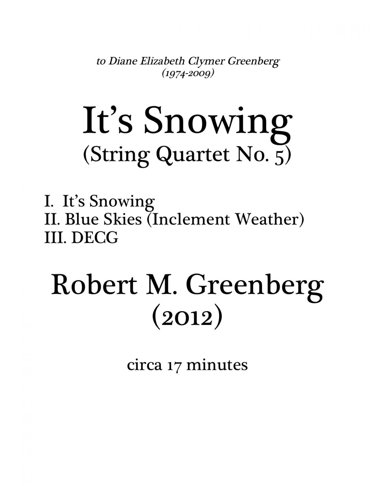 """It's Snowing"" for String Quartet Score Cover"