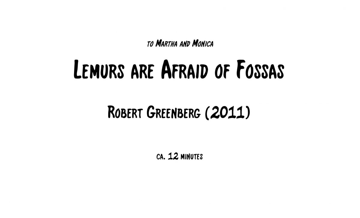 Lemurs are Afraid of Fossas - Score and Parts Cover