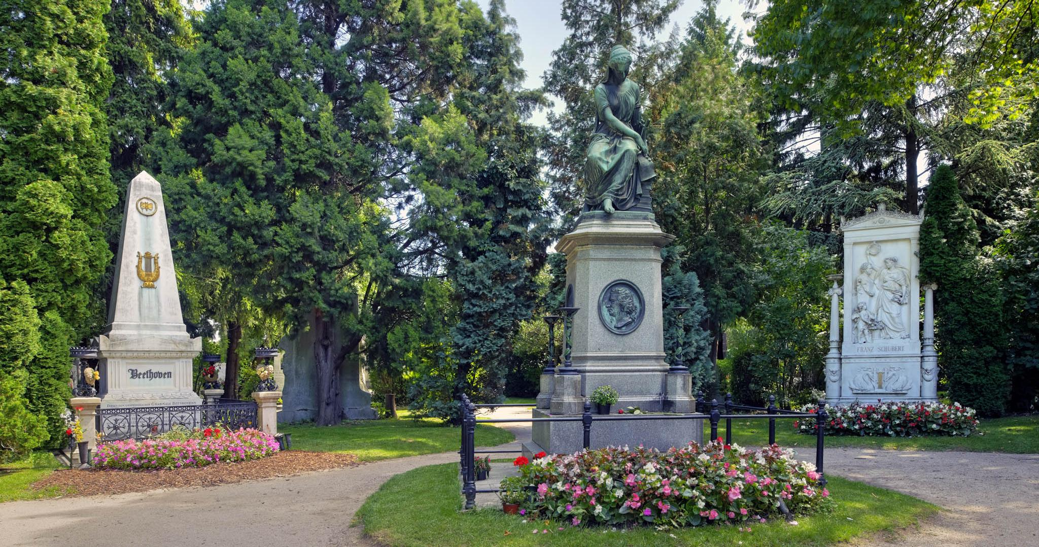 "Schubert's and Beethoven's graves (back right and back left, respectively) in the ""Garden of Honor"" in Vienna's Zentralfriedhof"