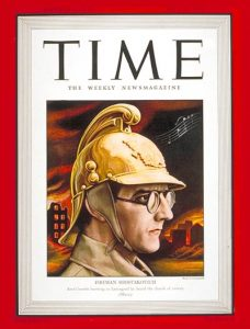 Shostakovich in 1941, on the cover of TIME magazine in his fireman's helmet during the siege of Leningrad