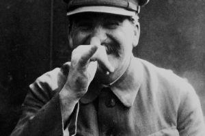 Joseph Stalin thumbing his nose at humanity