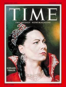 Renata Tebaldi (1922-2004) on the cover of Time, November 3, 1958