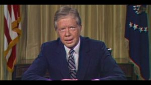 """Jimmy Carter delivering the """"Malaise"""" speech, July 4, 1979"""