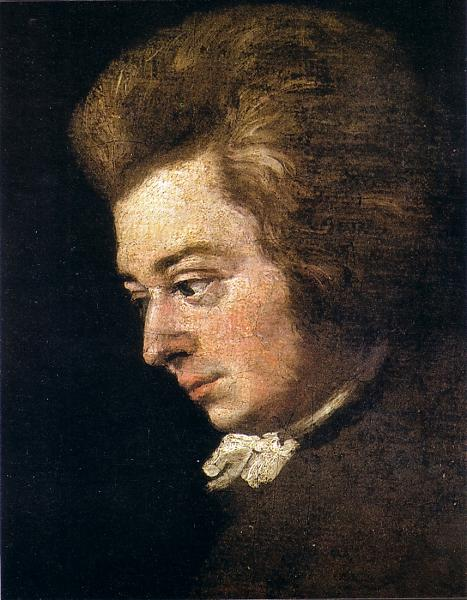 Wolfgang Mozart, detail of a painting by his brother-in-law Joseph Lange