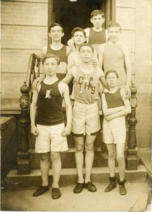 "Samuel (""Sidney"") Greenberg (front center), ca. 1908: the Commercial High School (Brooklyn, New York) track team"