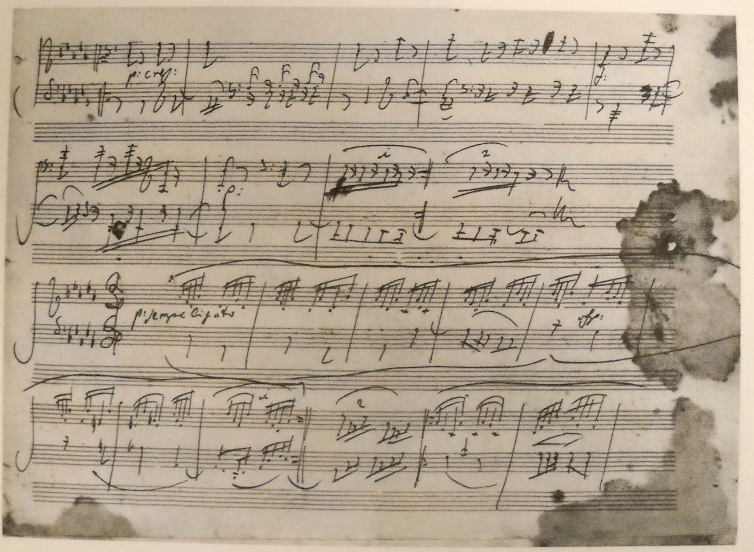 Water stained page from the manuscript of the Appassionata: movement 2, page 2