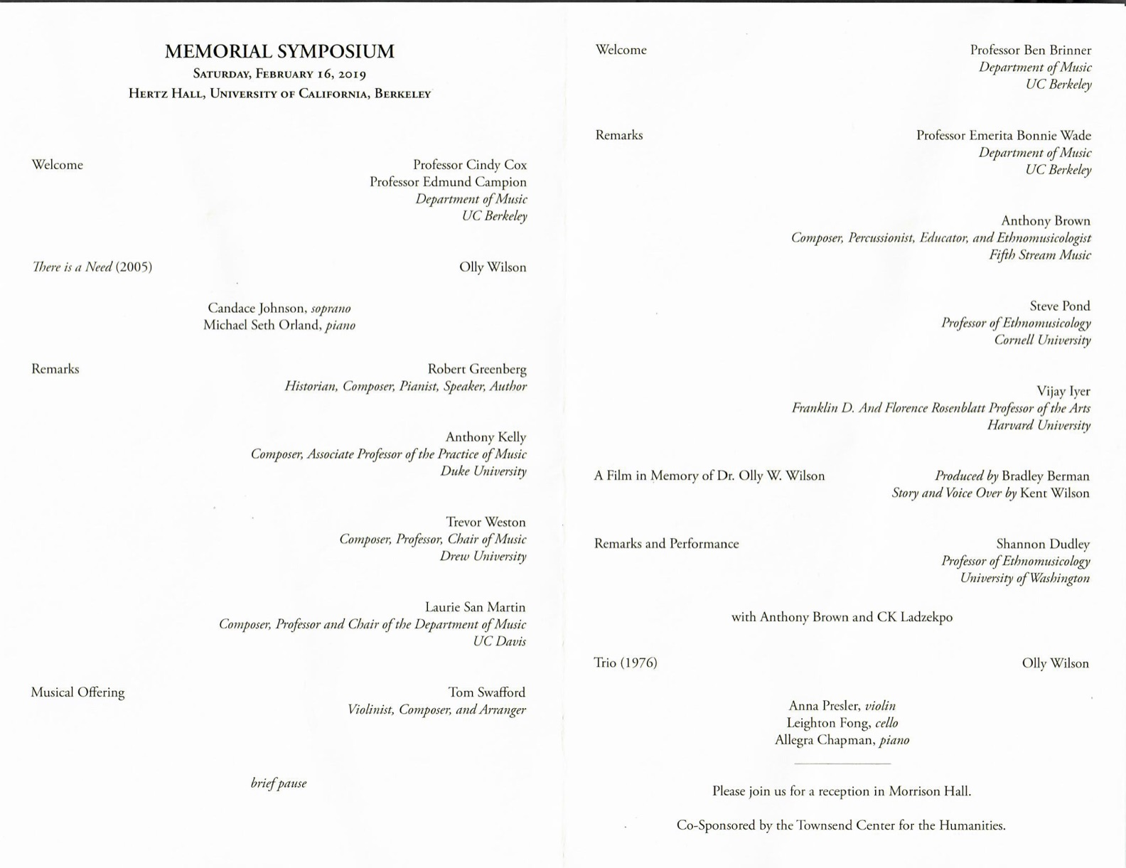 Olly Wilson Symposium Program