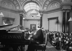 Myra Hess performing at the National Gallery