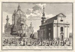 The cemetery and chapel of the Bürgerspital-Gottesackers in 1737