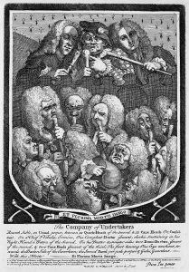 William Hogarth's print entitled The Company of Undertakers (A Consultation of Quacks) (1736).