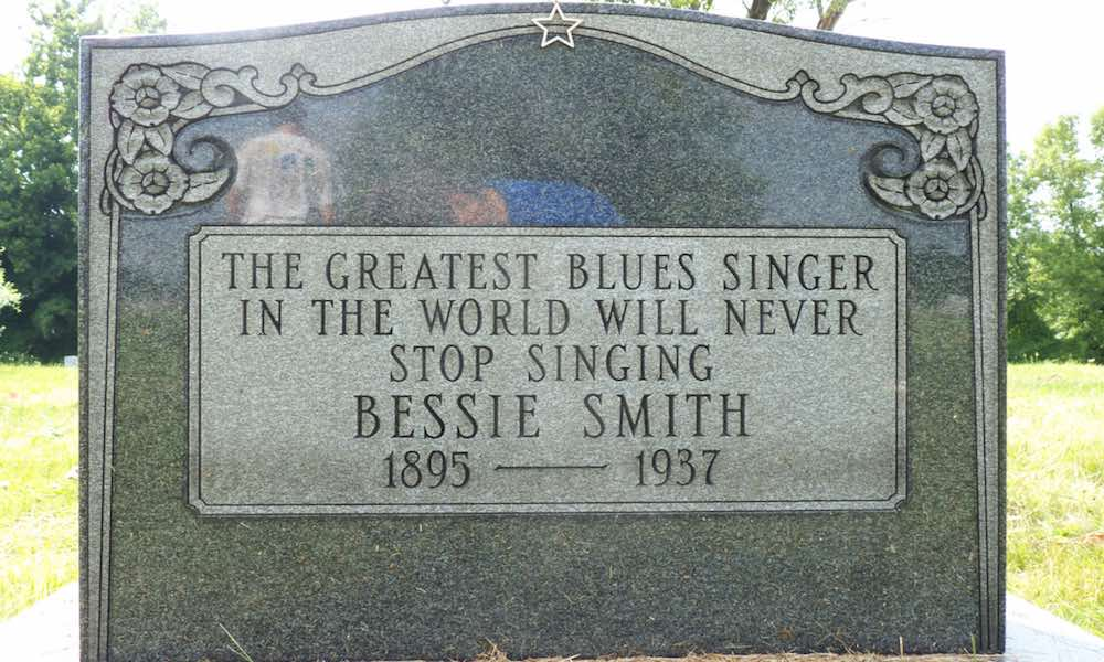 "Bessie Smith's gravestone, marked ""The Greatest Blues Singer In The World Will Never Stop Singing"""