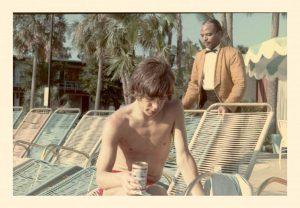 Mick Jagger (born 1943) kickin' back with a Bud