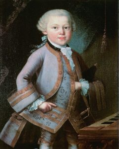 Oil painting of Mozart in 1763 at age 7