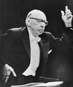 Stravinsky conducting in 1965, at the age of 82