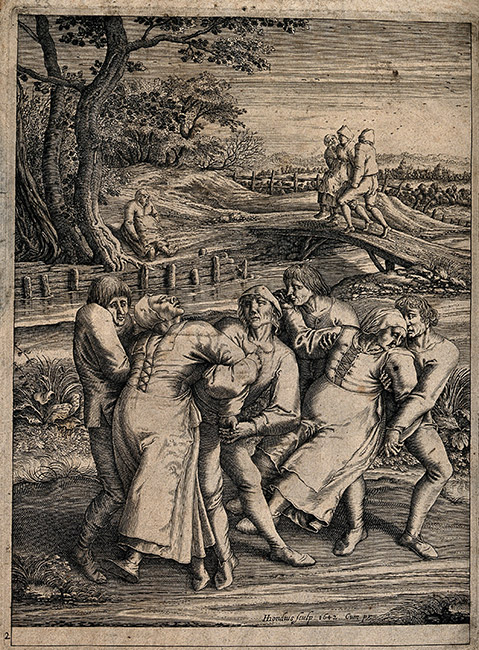 The dancing mania by Hendrik Hondius, after Pieter Brueghel