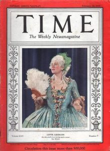 Lehmann on the cover of Time as the Marschallin in Richard Strauss' Der Rosenkavalier