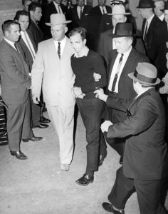 The instant before Jack Ruby shoots Lee Harvey Oswald