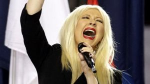 Christina Aguilera at the Super Bowl