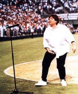 Roseanne Barr grabbing her crotch after her scintillating performance of the Star-Spangled Banner on July 25, 1990