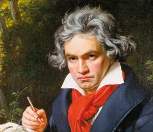 Beethoven portrait in oils (detail) by Joseph Carl Stieler, 1820