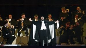 Pavarotti performing at the opening ceremony of the XX Winter Olympic Games in Turin on February 10, 2006