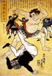 Sumo wrestler throwing a foreigner by Utagawa Yoshifuji