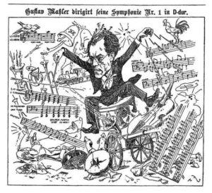 Caricature of Mahler conducting his Symphony No. 1