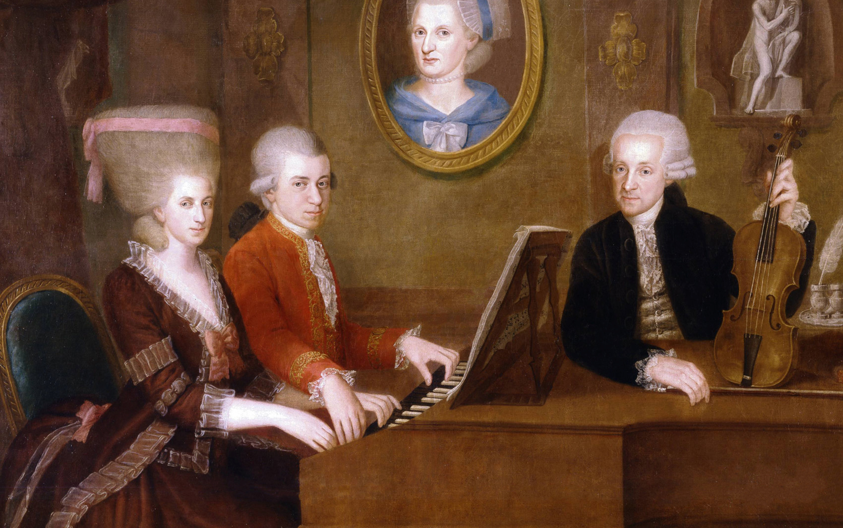 Mozart at the piano with his sister Maria Anna and father Leopold
