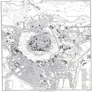 City plan of Vienna in 1858 before construction of the Ringstrasse