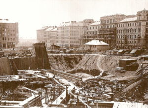 The construction site in 1863