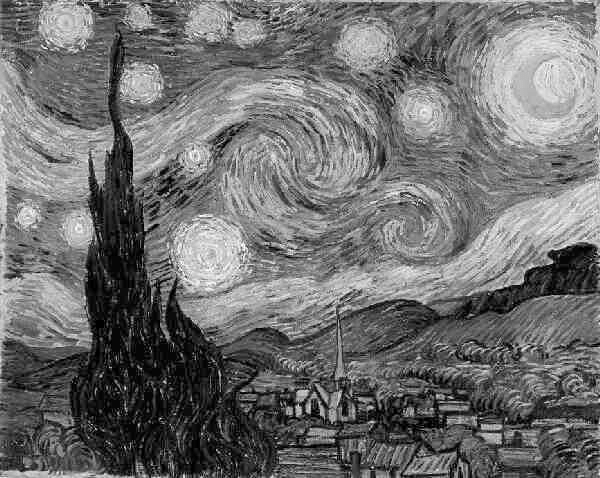 Vincent van Gogh, Starry Night - black and white