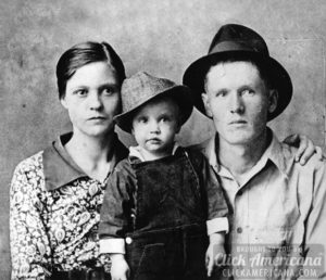 The young Elvis with his parents, Gladys and Vernon Presley