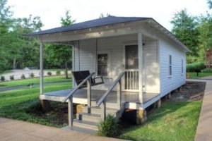 Elvis' birth house as it appears today, fully restored