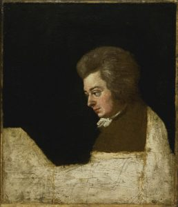 "Lange's unfinished larger painting of ""Mozart at the piano"""
