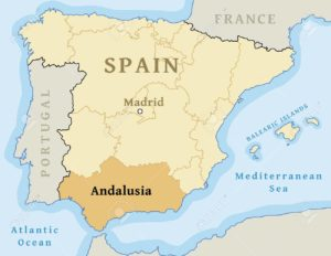 Andalusia autonomous community location map within Spain