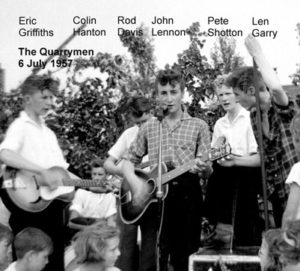 The Quarrymen performing on July 6, 1957
