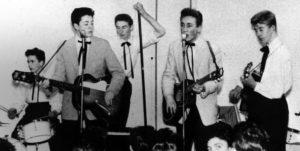The Quarrymen performing on November 23, 1957; left-to-right Colin Hanton, Paul McCartney, Len Garry, John Lennon, Eric Griffiths