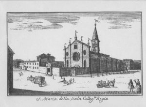 The fourteenth century church of Santa Maria alla Scala which was demolished to make way for the opera house, circa 1745